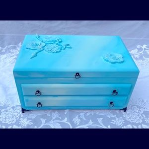 Light Blue Vintage Wooden Jewelry Box